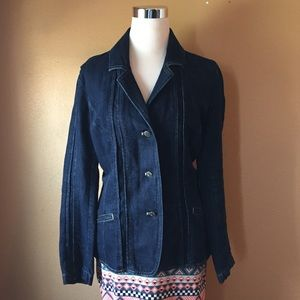 J Jill Fitted Denim Jean Jacket Blazer 12 Darkwash